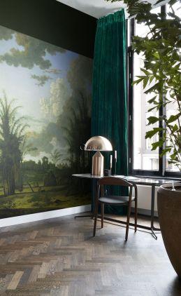 fotomural paisaje tropical verde, azul y verde mostaza
