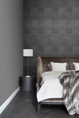 papel pintado XXL motivo de azulejos imitacion de cuero gris oscuro