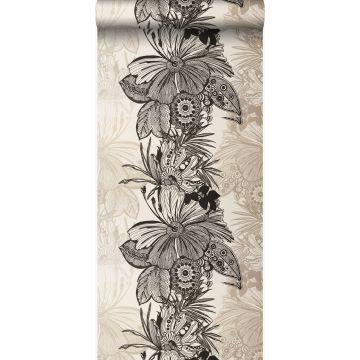 papel pintado flores negro y beige
