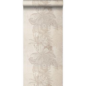 papel pintado flores beige