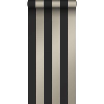 papel pintado rayas negro y bronce brillante