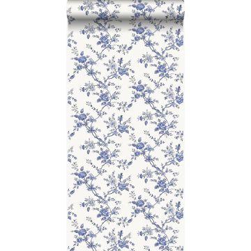 papel pintado flores azul índigo