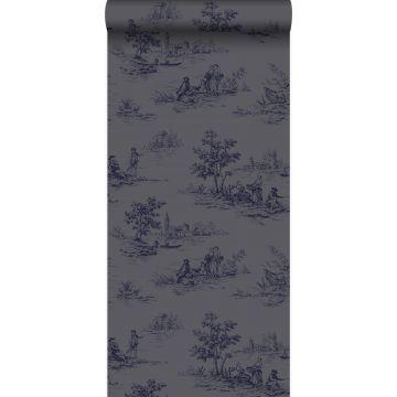 papel pintado tela de jouy gris y azul