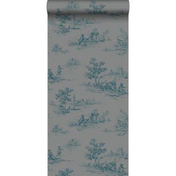 papel pintado tela de jouy gris y turquesa