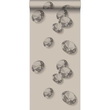 papel pintado diamantes gris y negro