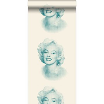 papel pintado Marilyn Monroe blanco y turquesa