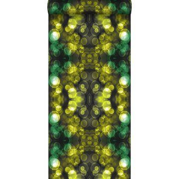 papel pintado calidoscopio amarillo y verde