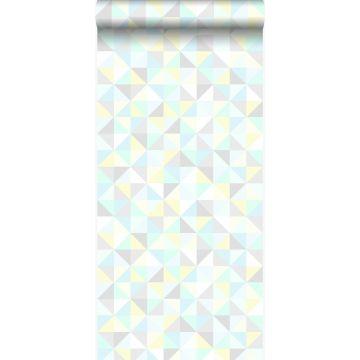 papel pintado triángulos verde menta pastel claro, amarillo pastel claro, azul celeste pastel claro, gris claro cálido y gris plata brillante