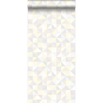 papel pintado triángulos beige crema claro, gris claro cálido, amarillo pastel claro y beige claro brillante