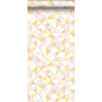 papel pintado triángulos rosa cipria pastel claro, naranja melocotón pastel claro, amarillo pastel claro, gris claro cálido y oro brillante claro