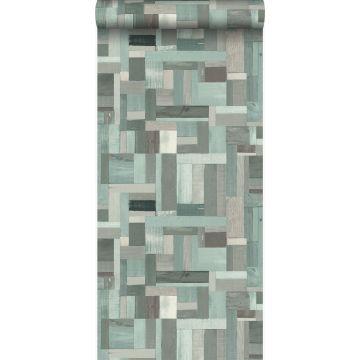 papel pintado motivo de tablas de madera de desecho recuperada verde grisáceo