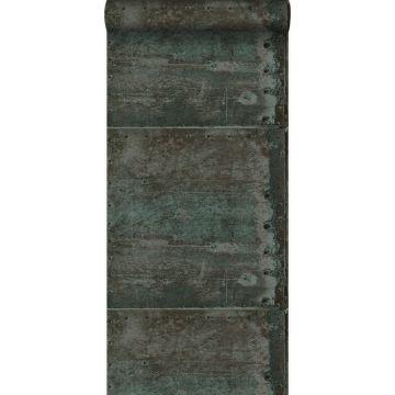 papel pintado grandes placas de metal oxidadas, alteradas y resistidas con remaches marrón y azul petroleo claro