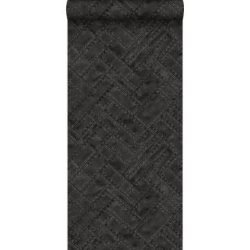 papel pintado placas de metal con remaches en motivo de espina de pez en espiga negro oscuro