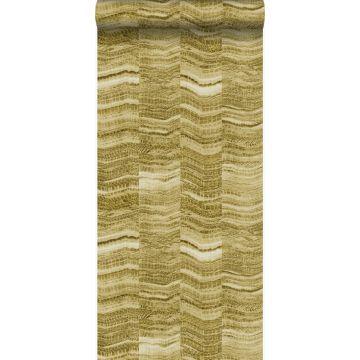 papel pintado Raya chevron zigzag en pedazos de mármol en capas. amarillo ocre