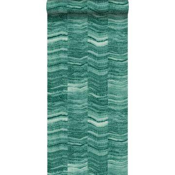 papel pintado Raya chevron zigzag en pedazos de mármol en capas. verde esmeralda