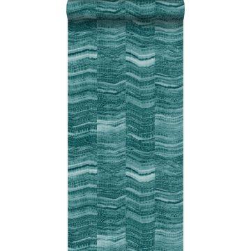 papel pintado Raya chevron zigzag en pedazos de mármol en capas. azul petroleo