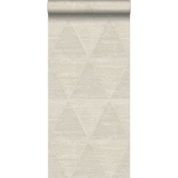 papel pintado triángulos de metal desgastado, alterado y resistido beige