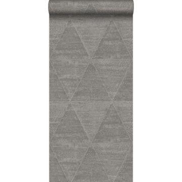 papel pintado triángulos de metal desgastado, alterado y resistido gris industrial