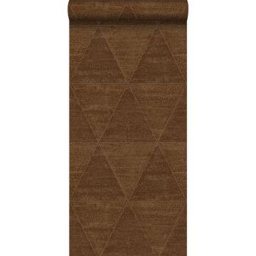 papel pintado triángulos de metal desgastado, alterado y resistido marrón herrumbre