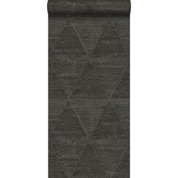 papel pintado triángulos de metal desgastado, alterado y resistido negro oscuro