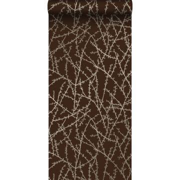 papel pintado ramas en flor marrón mate y bronce brillante