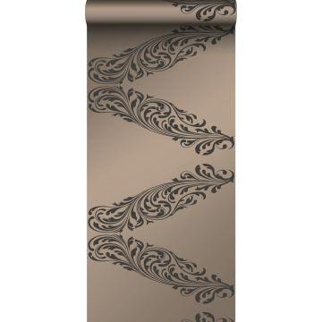 papel pintado adorno bronce brillante y marrón
