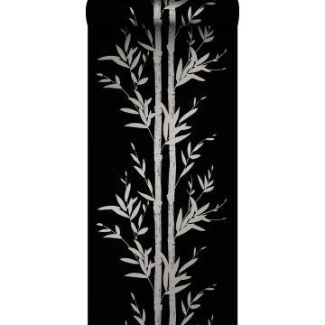 papel pintado bamboo negro mate y gris