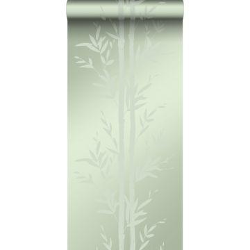 papel pintado bamboo verde oliva agrisado