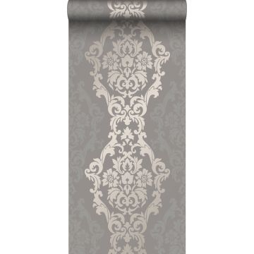 papel pintado adorno gris pardo y bronce brillante