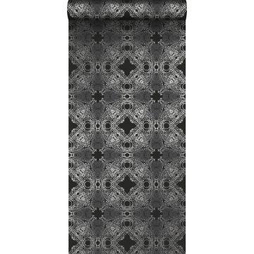 papel pintado forma gráfica negro y plata