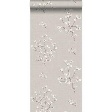 papel pintado flores gris pardo