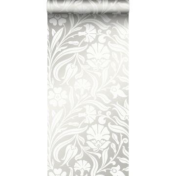 papel pintado flores blanquecino