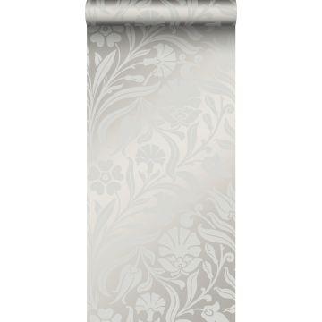 papel pintado flores gris