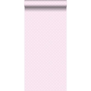 papel pintado puntos lunares rosa claro