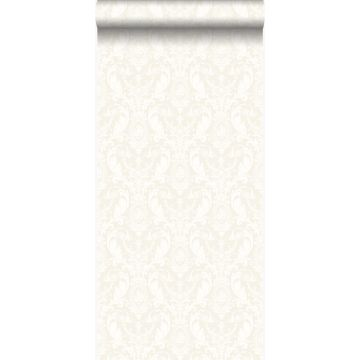 papel pintado adorno plata y blanco