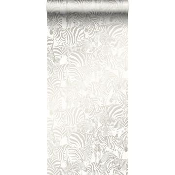 papel pintado cebras plata