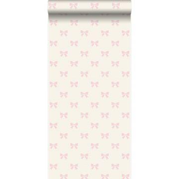 papel pintado pequeños arcos blanco y rosa claro