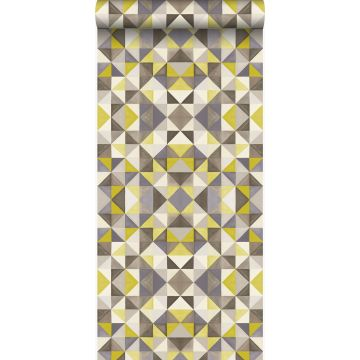papel pintado cubismo amarillo ocre