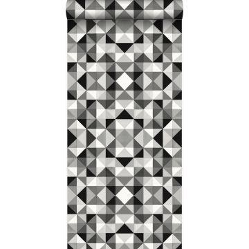 papel pintado cubismo negro y blanco