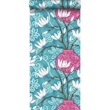 papel pintado magnolia turquesa y rosa