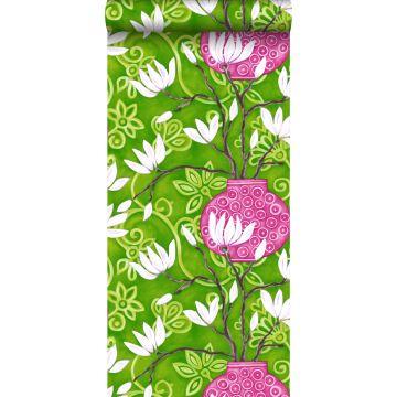 papel pintado magnolia verde y rosa