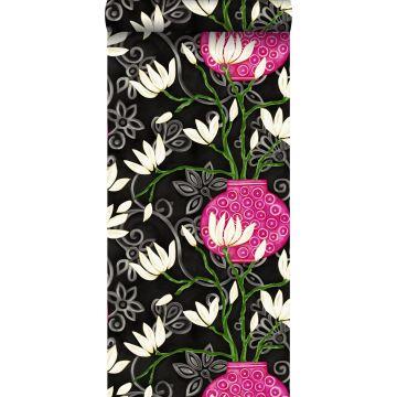 papel pintado magnolia negro y rosa