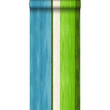 papel pintado rayas turquesa y verde limón
