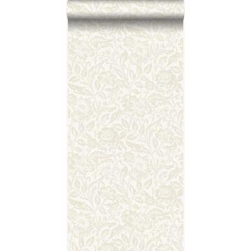 papel pintado flores blanco antiguo