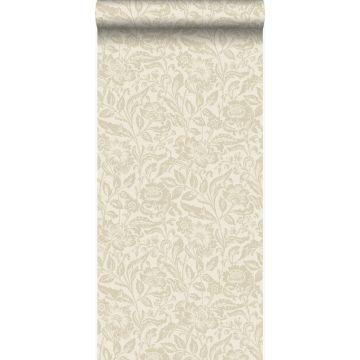papel pintado flores beige crema