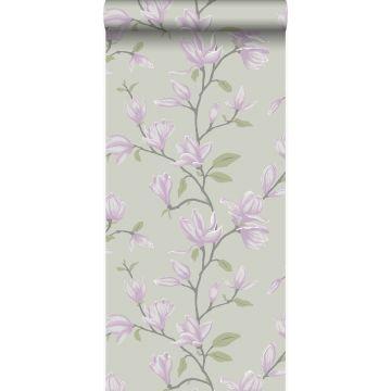 papel pintado magnolia verde mar y morado lila