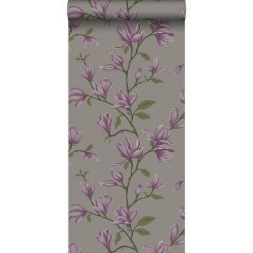 papel pintado magnolia gris pardo y morado berenjena