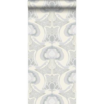 papel pintado diseño floral art nouveau beige