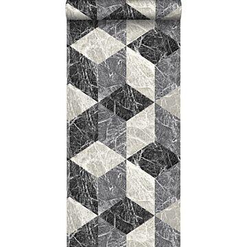 papel pintado motivo de mármol 3D negro y gris