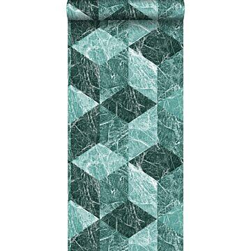 papel pintado motivo de mármol 3D verde esmeralda